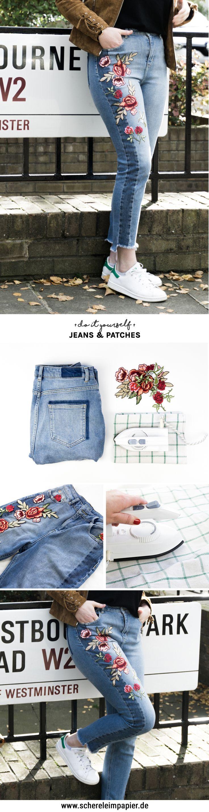 Mein DIY Jeans Projekt: 1 Hose, 2 florale Ideen Happy Dings – Happiness & DIY