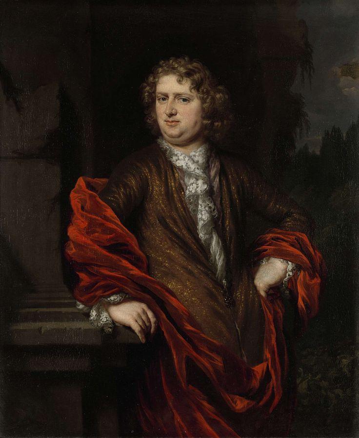Nicolaes Maes | Portrait of Pieter Groenendijk, Nicolaes Maes, 1677 - 1685 | Portret van Pieter Groenendijk ( -1731), secretaris van de veertigraad. Huwde in 1677 Petronella Dunois (zie SK-A-4889). Kniestuk. De geportretteerde is gekleed in een bruine jas met een wit kanten hemd en een rode mantel. Hij staat in een landschap geleund tegen een halfhoge zuil. Pendant van SK-A-4889.