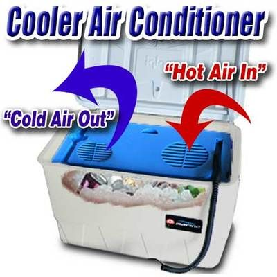 This portable cooler air conditioner is battery operated and turns and ice cooler into a battery powered air cold freezer air conditioner. It operates on 12 volts and can plug into any 12 car adapter. It is a perfect hurricane air cooler by Kool aire.