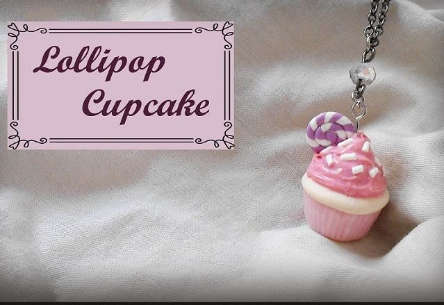 lollipop cupcake necklace   miniature polymer clay food jewelry sweet