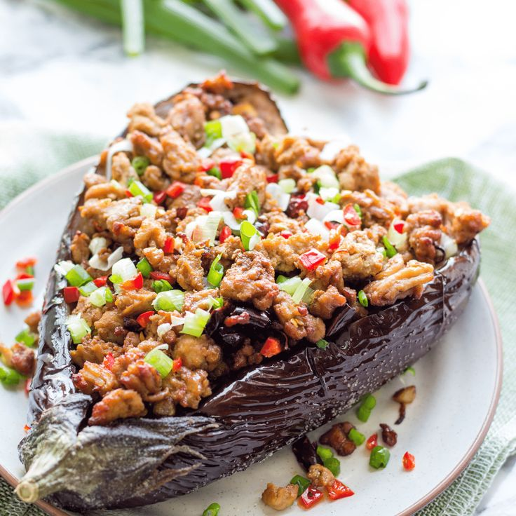 Baked Chinese Eggplant With Pork Mince - Szechuan Style | Eggplant with minced pork recipe. Beef recipes. Pork mince