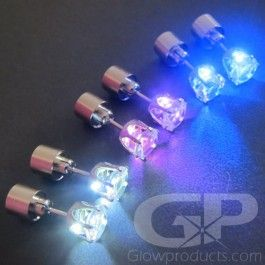 Glowing LED Earrings! Lighten up the night out with these real glowing earrings! https://glowproducts.com/us/lightupjewelrywearables/light-up-led-earrings #GlowParty #GlowLights