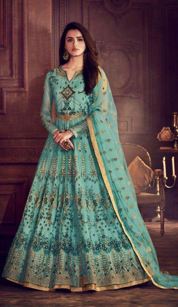 3837db019d Sky Color Butterfly Net Pakistani Eid Wear Salwar Kameez #salwarkameez  #eidmubaarak #eidspecial #