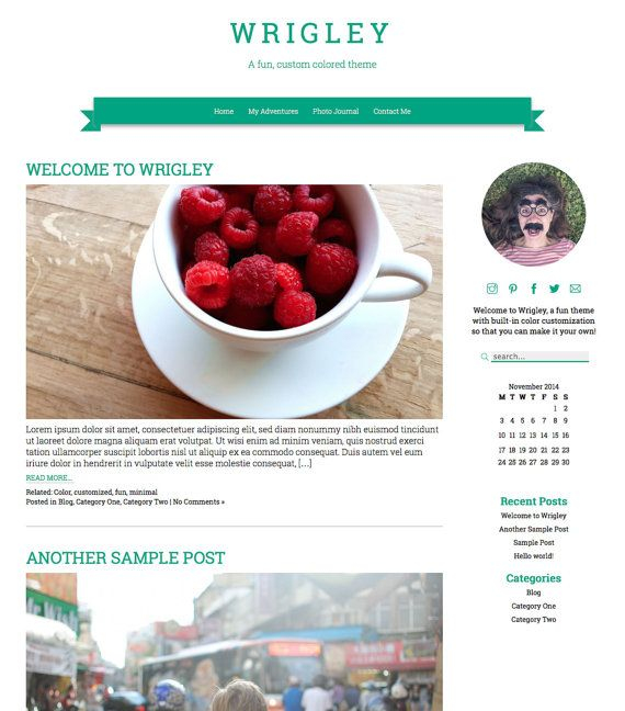 WordPress Theme: Wrigley Responsive Fun Color by GWPress on Etsy wrigley.gary-wilkerson.com www.etsy.com/shop/gwpress