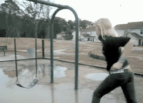 Funny GIFs Of People Victimized By Misleading Puddles