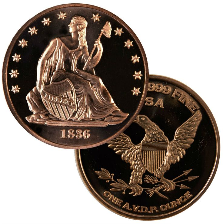 1 oz Copper Round - 1836 Seated Dollar Design - Free Shipping at MintProducts.com - Your Internet Coin Store