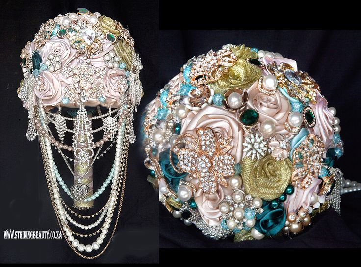 brooch bouquet - blush pink with white, torquoise and rose gold. Visually gorgeous and intricately made to perfection