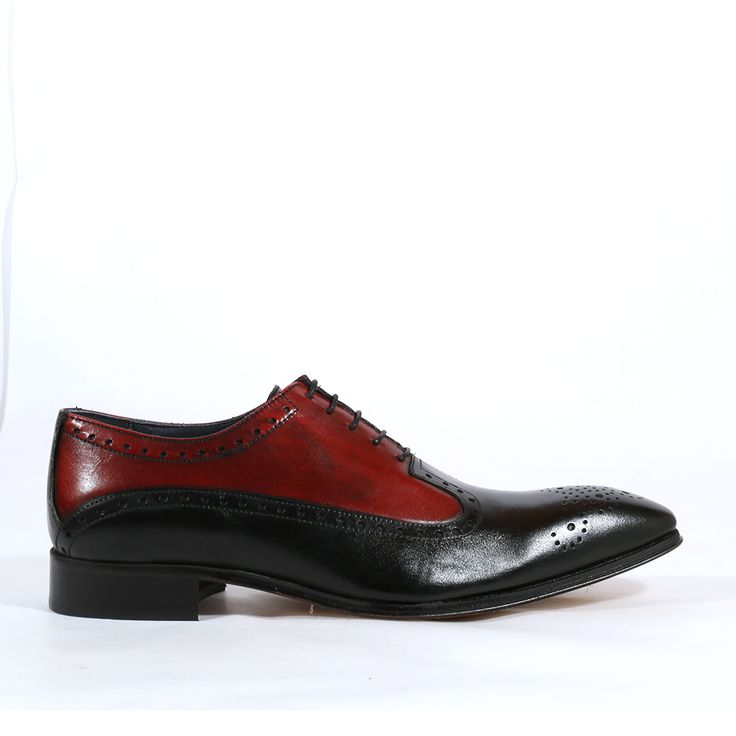 Duca Italian Mens Shoes Nero Rosso Leather Oxfords (D1002)