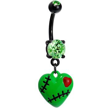 Peridot Green Gem Stitched Up Zombie Heart Belly Ring #bodycandy #bellyring #halloween $12.99