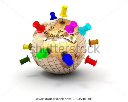 Earth with thumbtacks. 3d - stock photo