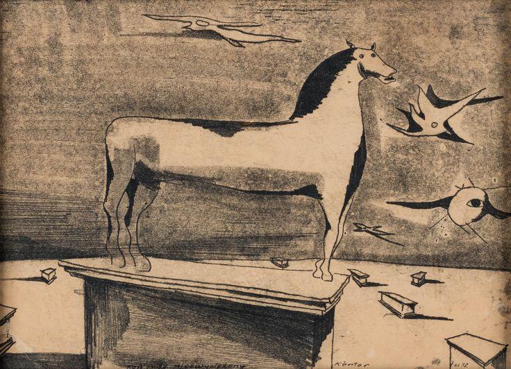 TADEUSZ KANTOR (1915 - 1990)  KOŃ MÓJ NIEZWYCIĘŻONY, 1952   monotypia, papier / 16 x 28,5 cm  opisany i sygn. u dołu: Koń mój niezwyciężony Kantor 7.XI.52