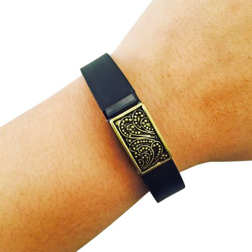 Charm to Accessorize the Vivosmart, Fitbit Flex, Xiaomi Mi and Jawbone Up - The PAISLEY Small Engraved Charm in Gold to Dress Up Your Favorite Fitness Tracker by Funktional Wearables