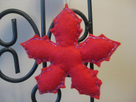 Rojo fieltro adornos de Navidad copo de nieve