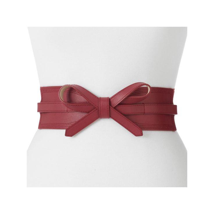 Women's Apt. 9® Faux Leather Bow Stretch Belt, Size: 1X-2X, Red