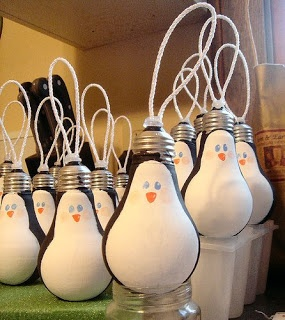 Penguin light bulb ornaments. The link also has other seasonal ways to decorate with lightbulbs.