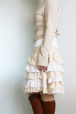 Super cute ruffle petticoat skirt! Very basic tutorial here, but the commenters link to their own variations when they make this.