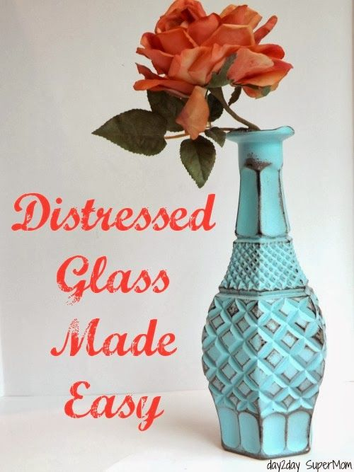 Distressed Glass Made Easy ~ DIY Friday by DAY2DAY Super Mom shared at DIY Sunday Showcase on VMG206 #distressed #distressedvase #paintedglass