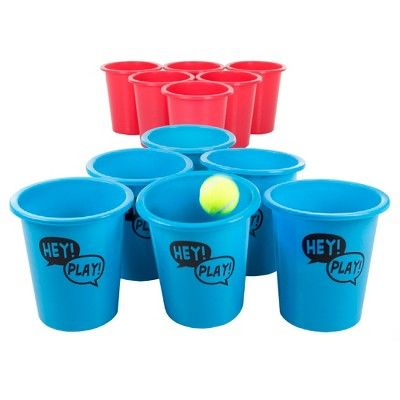 Hey! Play! Giant Beer Pong Outdoor Game Set for Kids and Adults with 12 Buckets/2 Balls and Tote Bag,