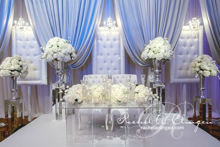 Glam and white wedding stage say yes to the dress for All white wedding decoration ideas