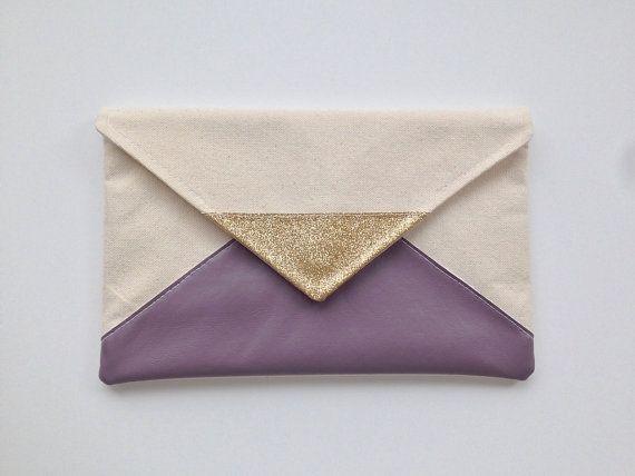 Glitter & Purple Envelope Clutch