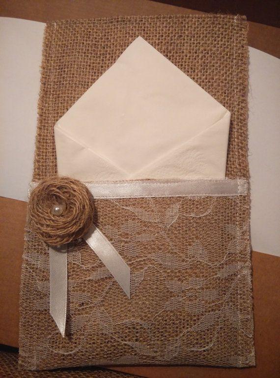 Burlap silverware holder white lace by jennylovelycrafts on Etsy