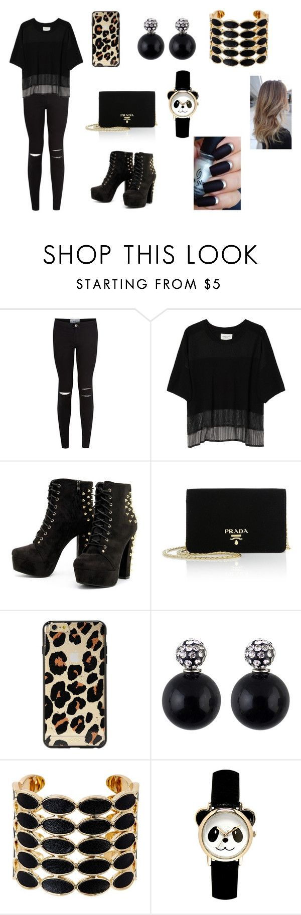 """lw"" by aiste-mini on Polyvore featuring New Look, Public School, Prada and House of Harlow 1960"
