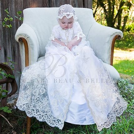 Kristina 2pc Christening Gown(Girl) | Heirloom Baptism Clothes & Dresses - Fancy Gowns & Dresses