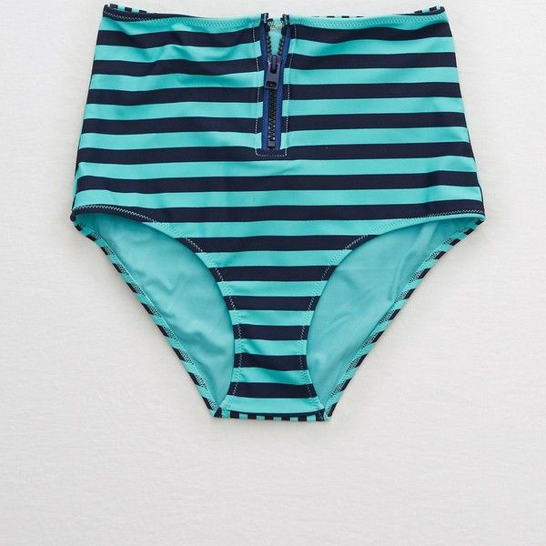 Aerie Zipper High Waisted Bikini Bottom ($17) ❤ liked on Polyvore featuring swimwear, bikinis, bikini bottoms, blue, high-waisted bikinis, zip front bikini, swim bikini bottoms, retro high waisted swimwear and high rise bikini bottoms