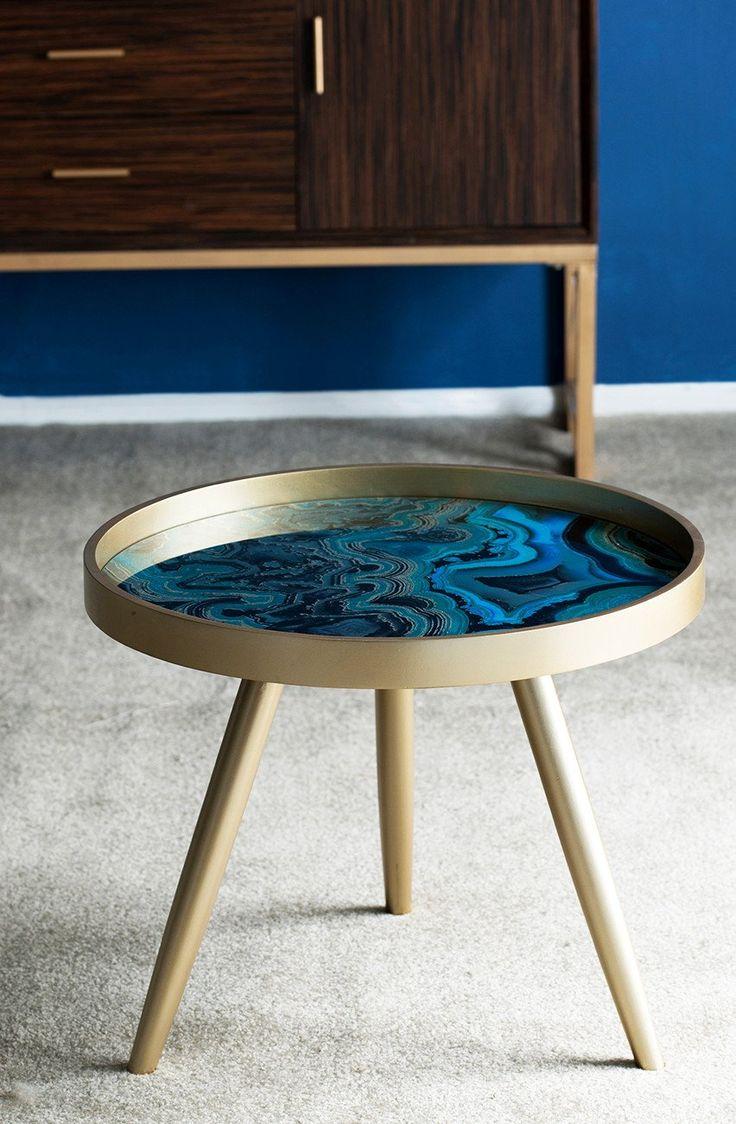 SWIRL BLUE MARBLE TRIPOD SIDE TABLE