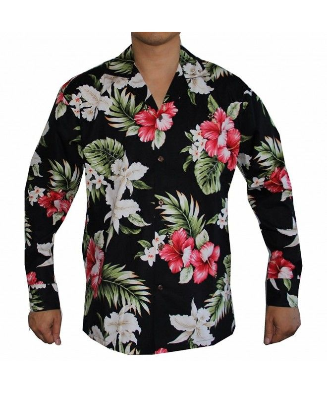 ed1fd5889165 Men's Long Sleeve Island Flowers Hawaiian Aloha Shirt - Black - CM129UYS9I3, Men's Clothing, Shirts, Casual Button-Down Shirts #style #shirts #Men # Casual ...