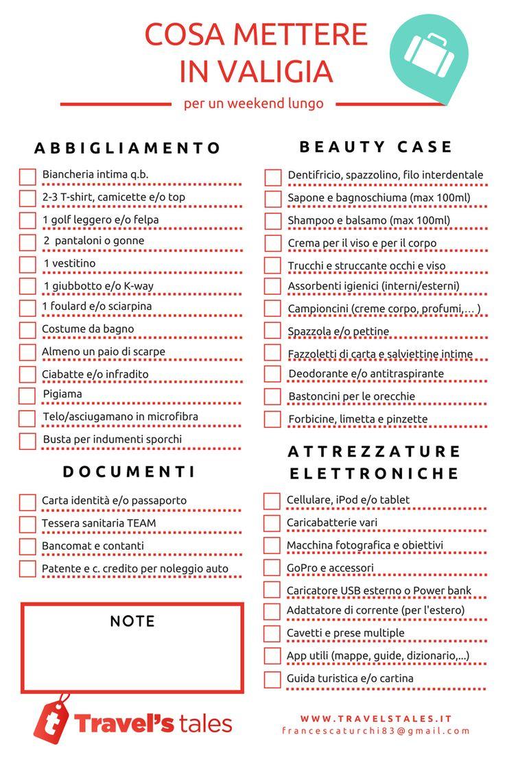 spesso Oltre 25 fantastiche idee su Lista di cosa mettere in valigia da  SG61
