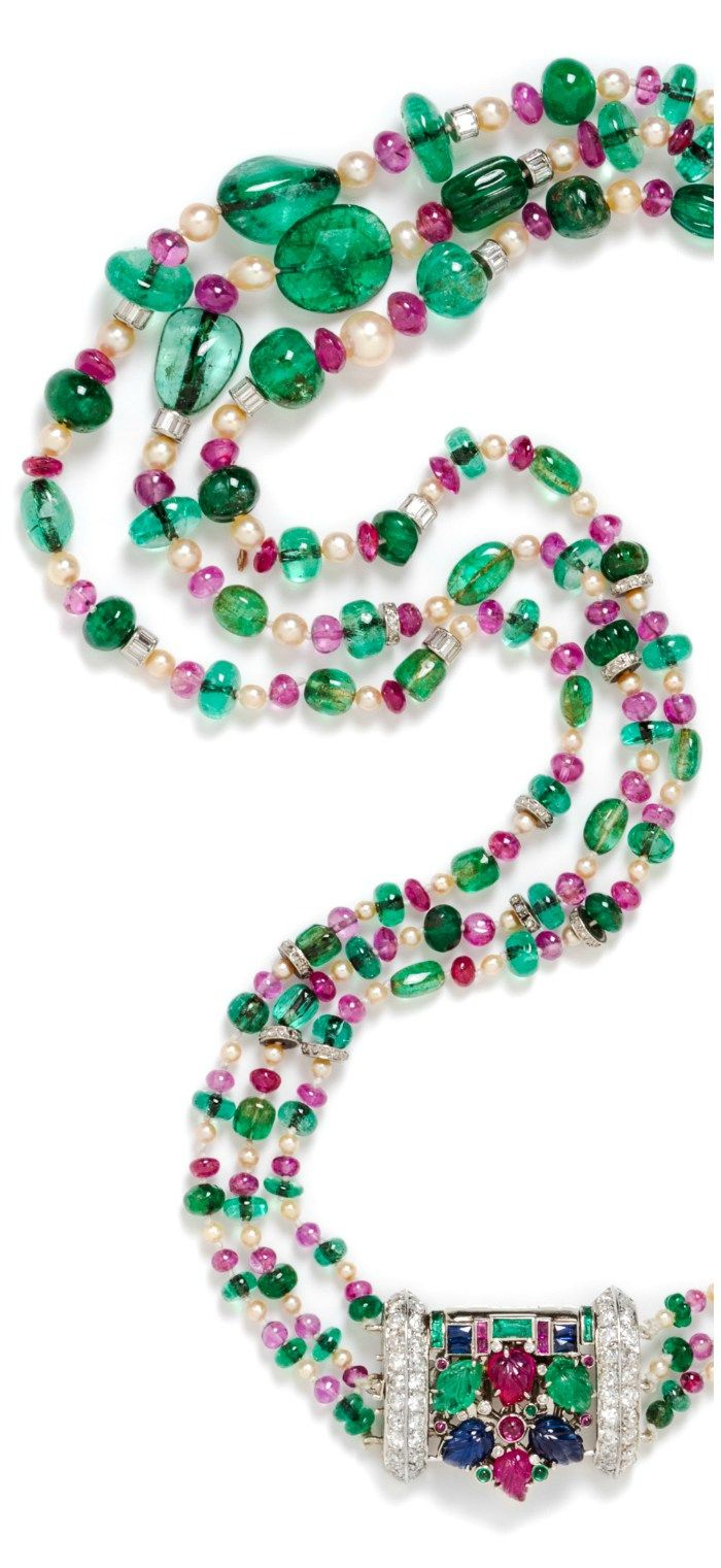 While the more unusual cuts of diamonds have been gathering momentum - A Fine Multistrand Platinum Emerald Ruby Pearl And Diamond Convertible Necklace Brooch