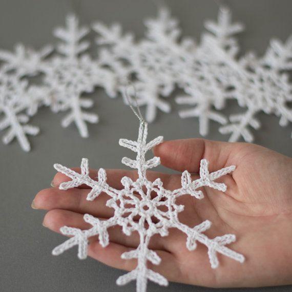 Gehaakte sneeuwvlokken kerst decoratie set van 6 ornamenten witte sneeuwvlok decoratie kerstboom decoratie Winter bruiloft decor