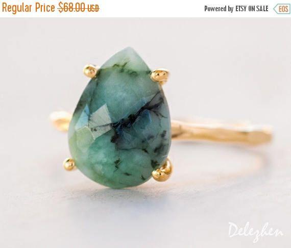 SALE  Green Raw Emerald Ring  May Birthstone Ring  Gemstone