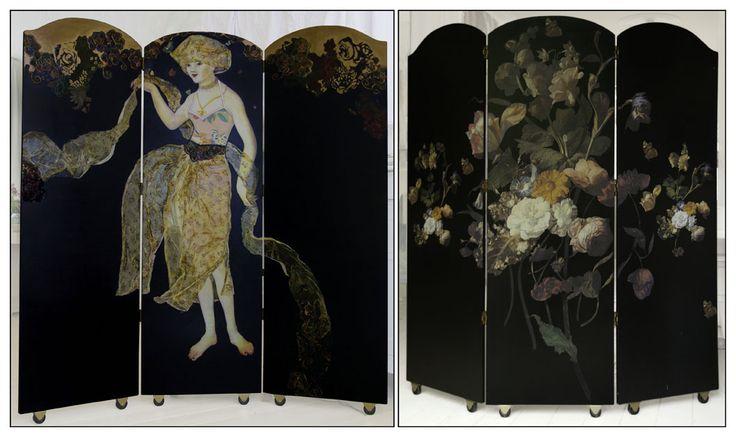 Margriet Thissen, Kamerscherm Sienna S' ombres, ca 155x (3x50) cm.  Foldingscreen Sienna S'ombres, approx 61x (3x19,5) in. Verkocht/Sold
