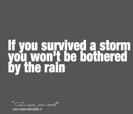 Chinese Proverb~ If you survived...   SO true!! Weather some storms & then you're not bothered so much by the day-to-day ordinary battles