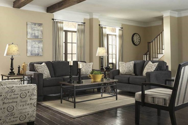 Living Room:Exquisite Gray Couch Living Room Ideas Then Coffee Table And Table Lamps With Cream Curtains Plus Dark Laminate Flooring Gorgeous Gray Living Room Ideas to Make Comfy Your Interior