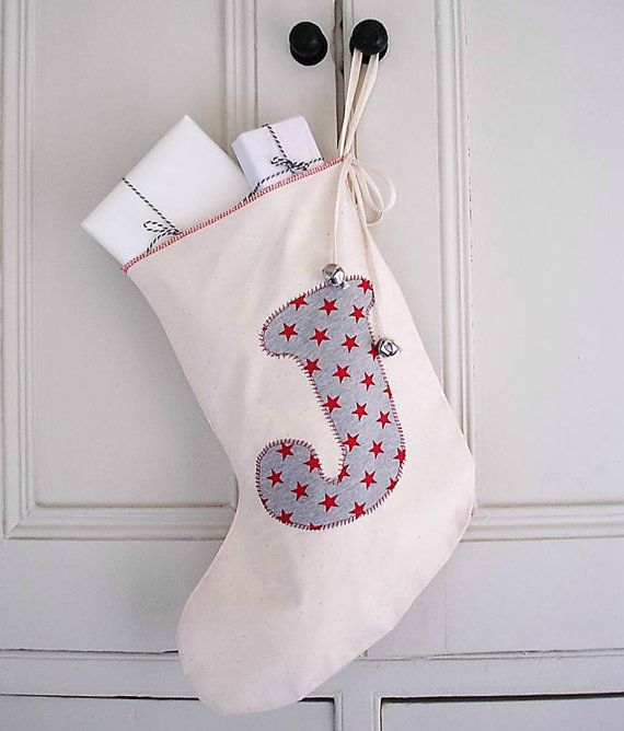 CHRISTMAS custom appliqued christmas stocking, unbleached cotton, personalised gift, cute first christmas gift, christmas keepsake