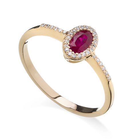 Inel cu rubin si diamante C578