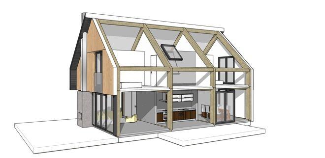 prefab woning houten spanten metalen dak