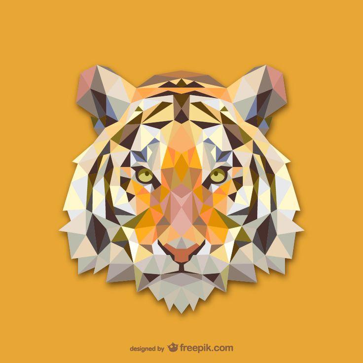 Vector geometric animals: Tiger
