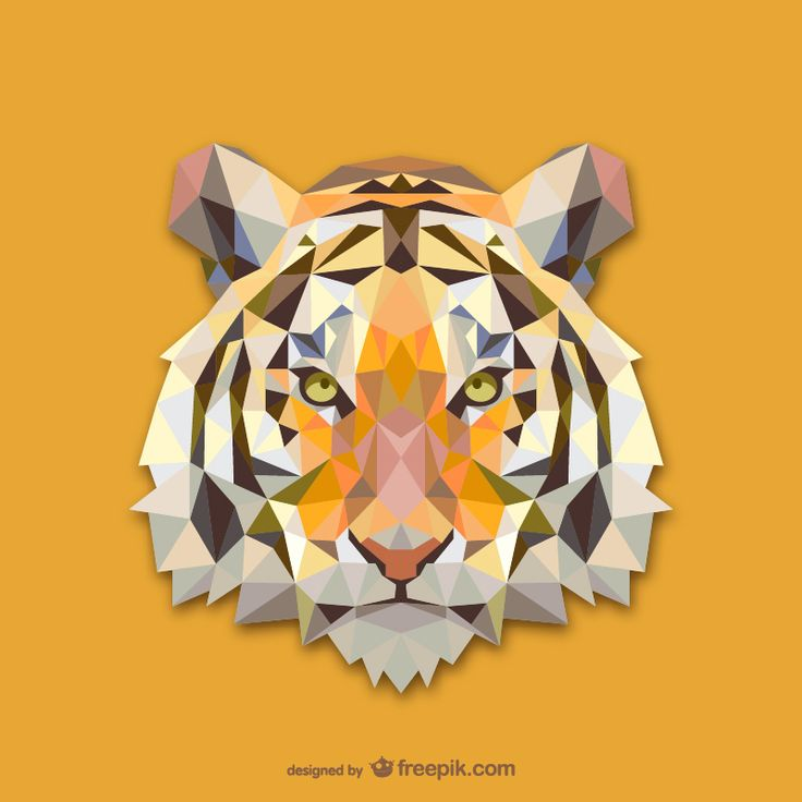 Vector geometric animals: Tiger