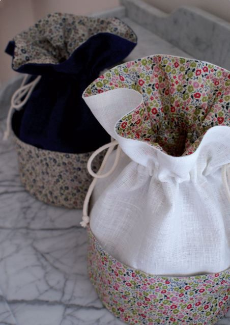 Nice fabric choices and I like the subtle pockets around the outside - - - Kit textile pochon en Liberty