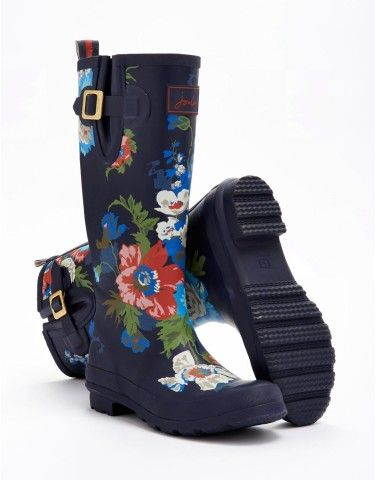 Joules Womens 'Wellyprint' Rain Boot with Navy Floral Print