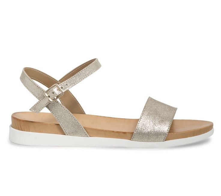 Sandale plate croûte de cuir dorée - Sandales plates - Chaussures femme