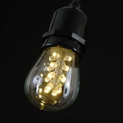 16 LED Warm White S14 Bulb Medium Base e27 - NoveltyLights.com Outdoor String Lights ...