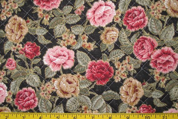 Great for gift making #Shabby_Chic Pre Quilted Fabric Half Meter Cut #Roses on MrsStitchesDesigns, $11.00
