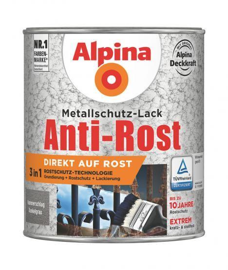 Alpina Metallschutz-Lack Anti-Rost Hammerschlag 2,5 L ca. RAL 9007 Dunkelgrau