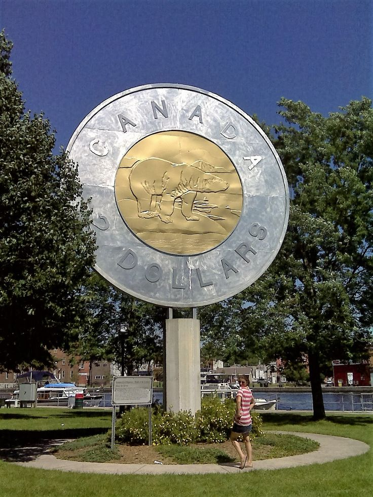 """BIG TOONIE: built in 2001, in Campbellford Ontario, to recognize Campbellford artist Brent Townsend who created the polar bear image used on the 2 Dollar Coin, or """"Toonie""""."""