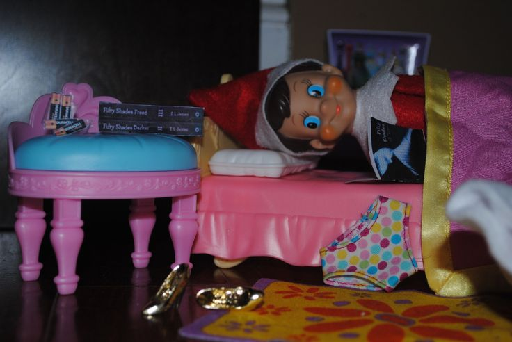 "Elf on the Shelf enjoying ""Fifty Shades of Grey""50 Shades, Fifty Shades"